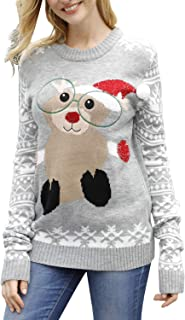Women Ugly Cute Christmas Sweater Long Sleeve Knit