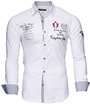 Kayhan Camisas Hombres Camisa Hombre Manga Larga Ropa Camisas de Vestir Slim fácil de Hierro Fit SML XL XXL-6X - Modello Monaco