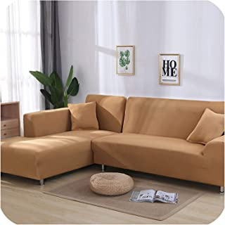 QianQianStore 1/2 Pieces White Sofa Cover Set Couch Cover Elastic Sofa Covers for Living Room Pets Stretch L Shaped Chaise Longue Sofa Cover,Camel,2Seater and 2Seater