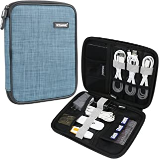 Universal Cable Organizer Bag, Iksnail Small Electronics Accessories Cases, Travel Carrying Pouch for USB Cables, Earphone, Charger, Phone, Charging Cords, Blue