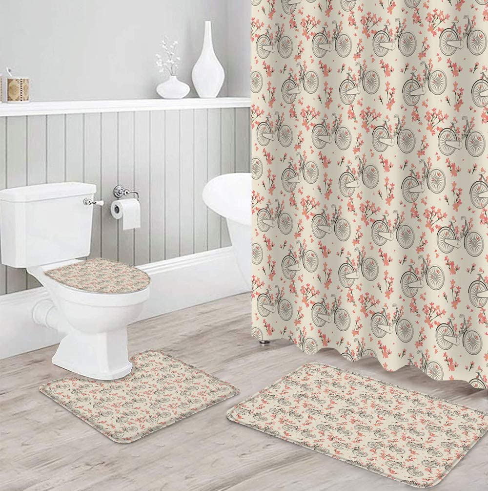 FAMILYDECOR 4 35% OFF Very popular PCS Shower Curtain Toilet Rug Sets Non-Slip with