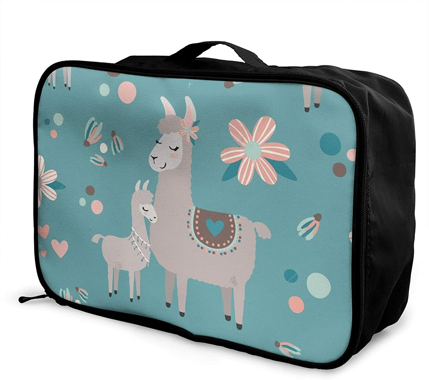 Foldable Travel Bag Max 78% OFF Tote Free Shipping New Blue Alpaca Floral Llama Carry-On