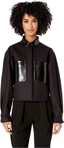 Long Sleeve Shirt/Blouson Bonded Fabric with Patent Leather Details
