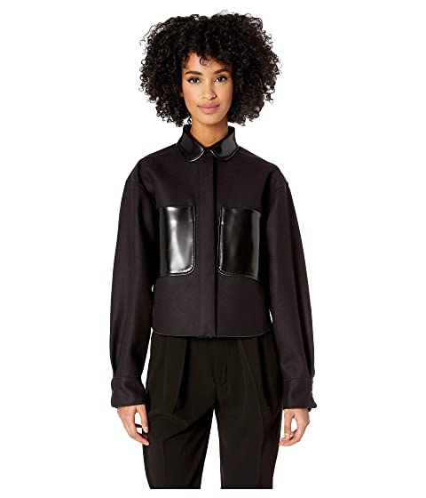 Jil Sander Navy Long Sleeve Shirt/Blouson Bonded Fabric with Patent Leather Details