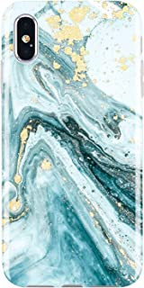 JIAXIUFEN Compatible iPhone X iPhone Xs Case Gold Sparkle Glitter Blue Marble Slim Shockproof Flexible Bumper TPU Soft Case Rubber Silicone Cover Phone Case for iPhone X iPhone Xs
