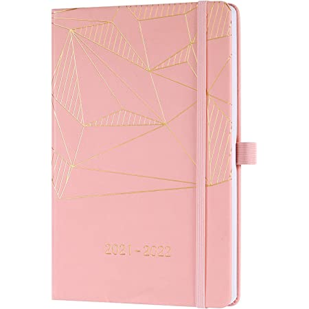2021 2022 Diary - Academic Weekly & Monthly A5 Diary, from July 2021 to June 2022, with Pen Holder, Inner Pocket, Banded, Premium Hardcover, 14.6 * 21.4 cm, Pink