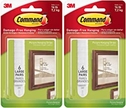 16 lb Large White Picture Hanging Strips, 6 Pairs (12 Strips), Indoor Use, Decorate Damage-Free (17206-6ES) - 2 Pack