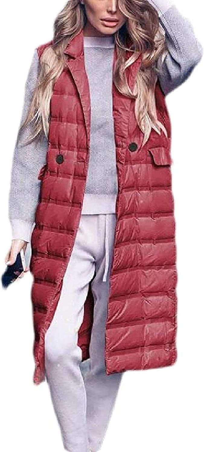 Womens Quilted Outwear Jacket Long Puffer Vest with Pockets