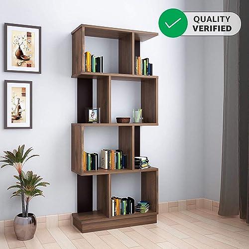 home by Nilkamal Checkers 4 Tier Book Shelf Melamine Finish Walnut