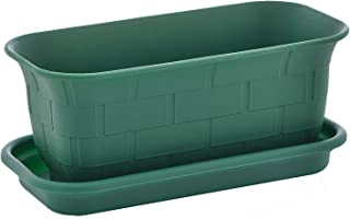 TABOR TOOLS Small 10 Inch Plastic Window Box Planter with Drainage Holes and Saucer, Indoor and Outdoor Use. ZG658A. (Dark Green)