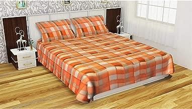 Fabture Woolen Double Bedsheet with 2 Pillow Covers (Orange)- Warm Woolen Bedsheet for Winters