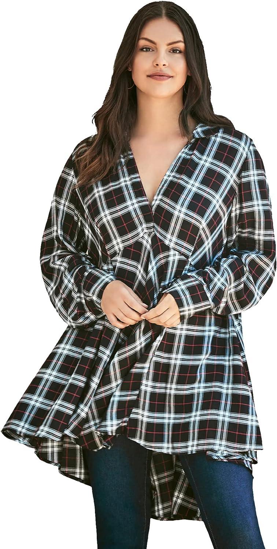 Roaman's Women's Plus Size Plaid Fit-And-Flare Tunic Long Shirt Blouse