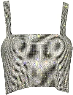 Macondoo Womens Spaghetti Strap Glitter Sexy Crop Tops Sequins Metal Tube Top Tank Tops