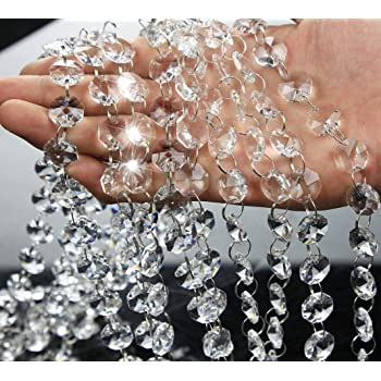 Musdoney 16.5 Feet Clear Crystal Beads Chandelier Bead Lamp Chain for...