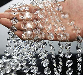 19.7 Feet Clear Crystal Beads Clear Chandelier Bead Lamp Chain for Christmas Wedding Party Tree Garlands Decoration, DIY Jewelry Making,and Other DIY Craft Projects