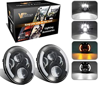 Vplus 7 Inch Round LED Headlights Projector White Halo Ring Angel Eye DRL Compatible with Jeep Wrangler JK TJ LJ Sahara Unlimited Islander, Hummer H1 H2 (Pack Of 2)
