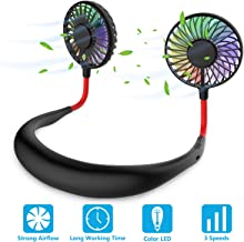 Hands Free Portable Neck Fan - Rechargeable Mini USB Personal Fan Battery Operated with 3 Level Air Flow, 7 LED lights for Home Office Travel Indoor Outdoor (Black)
