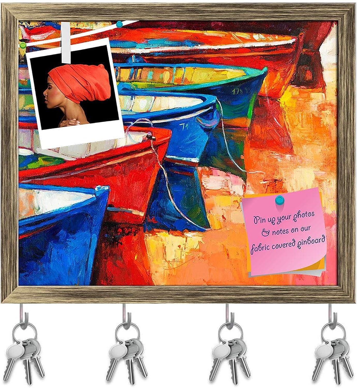 Artzfolio Boats & Jetty D2 Key Holder Hooks   Notice Pin Board   Antique golden Frame 19 X 16Inch