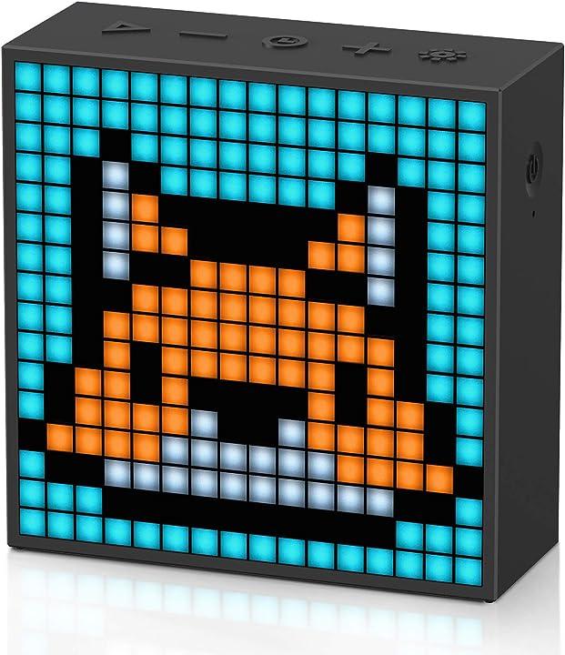 Speaker portatile bluetooth pixel art con 256 luci a led programmabili,sveglia intelligente divoom timebox evo 90100058091