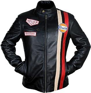 eebf8ae7897c Classic Steve McQueen Le Man Grand Prix Retro Biker Genuine Leather Jacket  (Cream