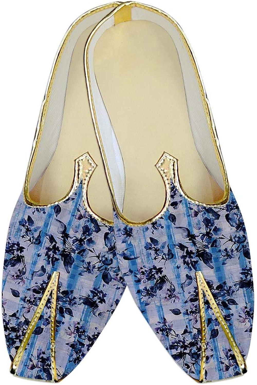 INMONARCH Mens Lavender Wedding shoes Navy bluee Printed MJ017009