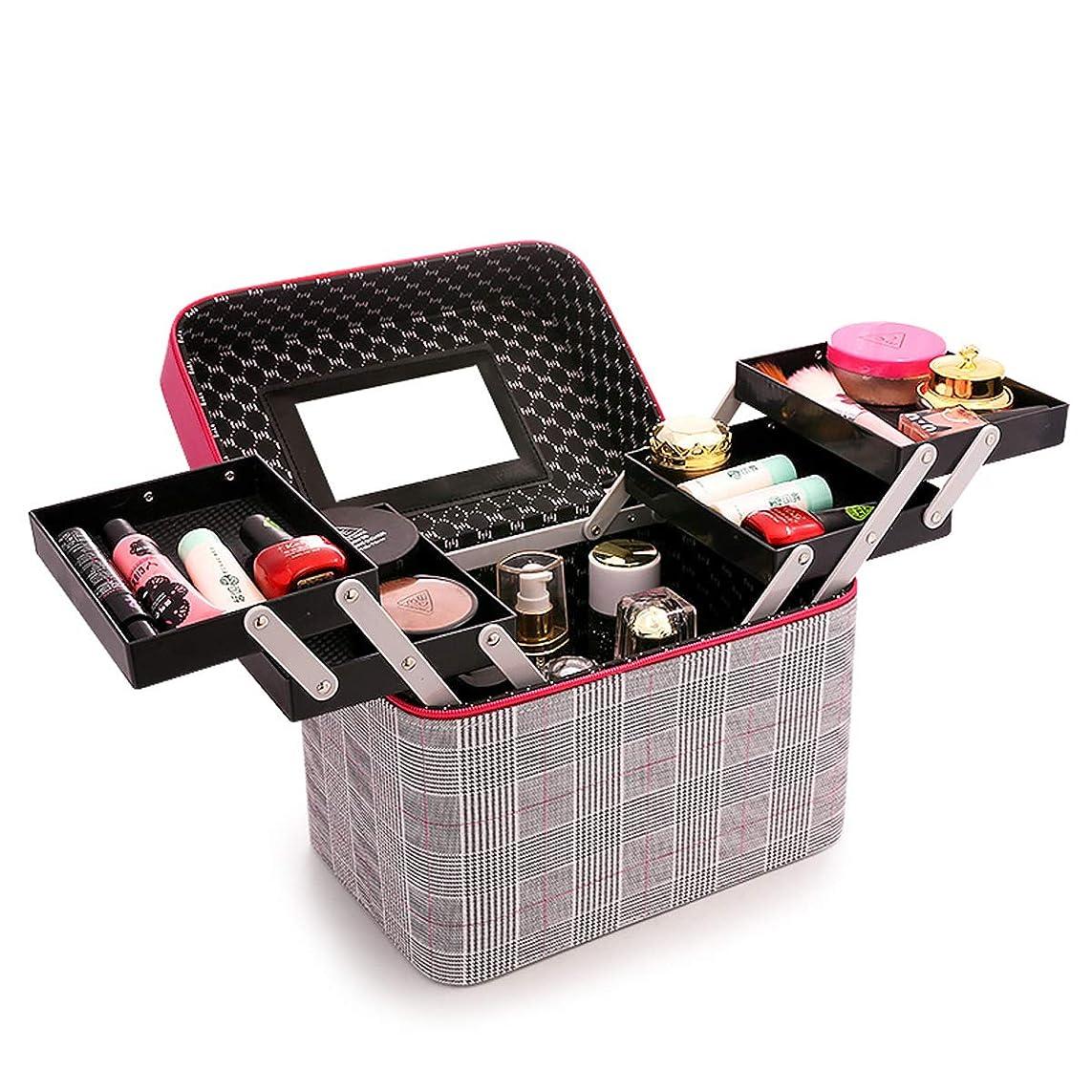 豊かなずっと市区町村化粧品収納ボックス 化粧品ケース メイクボックス メイクボックス コスメボックス 大容量 収納ケース 小物入れ 大容量 取っ手付 (ローズレッド)