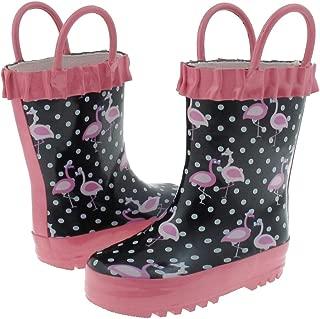 Shiny Polka Dot Flamingo Printed Rubber Rain Boot