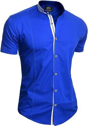 Camisa Elegante de Manga Corta para Hombre Cuello Alto Algodón Ajustado