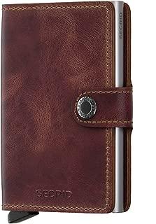 Men Mini Wallet Genuine Leather Vintage black RFID Safe Card Case max 12 cards
