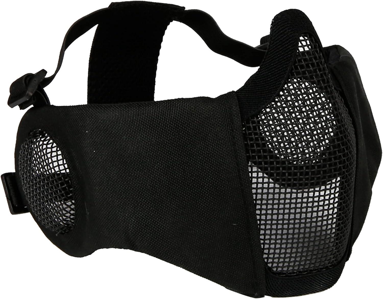 FOJMAI Máscara plegable de malla de airsoft de media cara con protección de oído militar táctica transpirable máscara para Patinball BB Gun CS juego de disparos