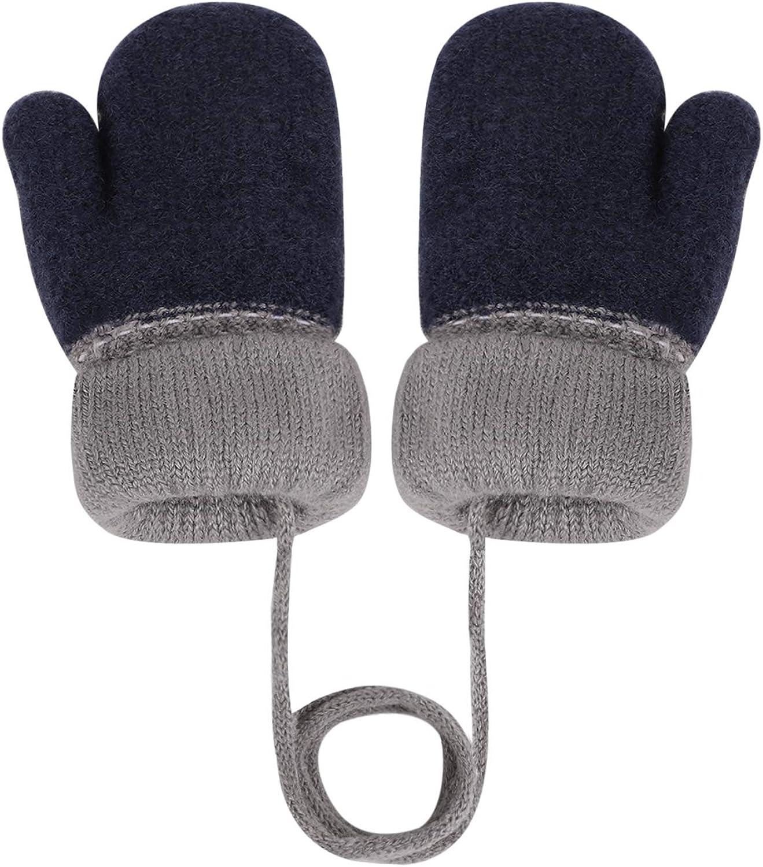 Mitones de invierno para ni/ños y ni/ñas guantes de dedo completo con forro de cachemira c/álido espesar t/érmico lindo patr/ón de zorro de dibujos animados cuelgan cuello c/álido mitones de 0 a 3 a/ños