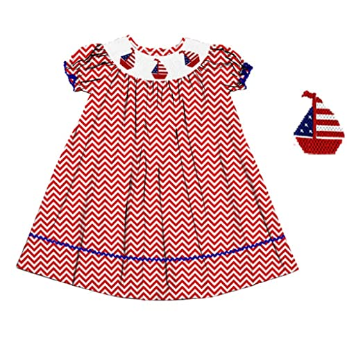 afcf410a2ab Dana Kids Red White July 4th Chevron Boat Smocked Dress Girl 18M-8