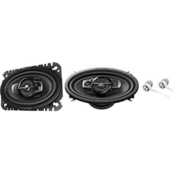 """Pioneer 4"""" X 6"""" 200 Watts Max 3-Way A-Series Car Audio Coaxial Speakers with Carbon and Mica Reinforced IMPP Woofer - Pair with Alphasonik Earbuds"""