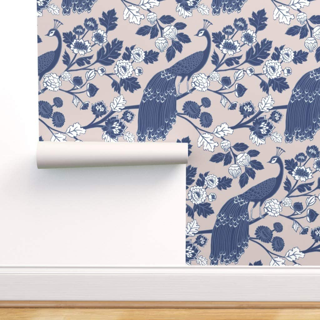 Spoonflower 人気 Pre-Pasted Removable Wallpaper Peacock Floral Chino ブランド買うならブランドオフ