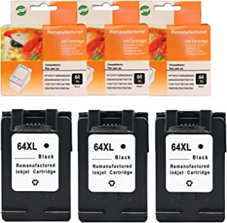 Ninjatoner Remanufactured Ink Cartridge Replacement for HP 64XL 64 XL N9J92AN Used on Envy Photo 6252 6255 6258 7155 7158 7164 7855 7858 7864 Printers (Black, 3 Pack)