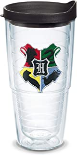 Tervis 1349143 Harry Potter - Hogwarts House Crests Insulated Tumbler with Emblem and Black Lid, 24oz, Clear