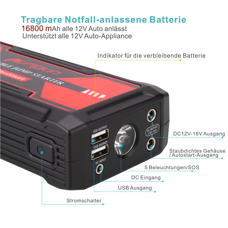 Pumpkin 800 A Punta Energía 16800 Mah Portátil Auto Arranque batería de Arranque Cargador de batería con Linterna LED para Laptop, Smartphone, mp3/mp4, PSP y Otros Dispositivos móviles: Amazon.es: Electrónica