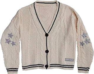 Mögel med samma stycke Folklore Taylor stickad cardigan tröja Taylor Swift The Cardigan