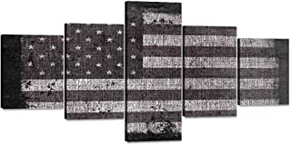 Black and White Painting on Canvas Retro American Flag USA Home Wall Decor Vintage Grey Background Artwork Patriotic Concept 5 Panel Giclee for Living Room Stretched Framed Varying Size(50''W x 24''H)
