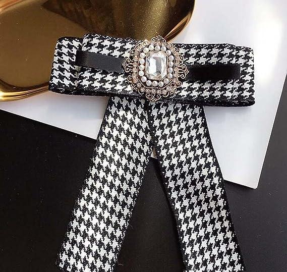 Camisa de mujer elegante Pajarita de pata de gallo con estilo retro con corbata de broche Cuadrícula de blanco y negro