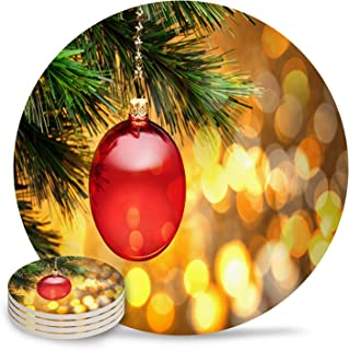 4 Piece Drink Coaster Absorbing Stone Coaster Cork Base New Year Christmas Ball Hang on Pine Tree Golden Glitter Absorbent Stone Coaster Set Housewarming Gift for Home Decor