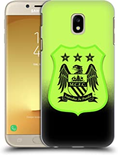 Official Manchester City Man City FC Third Kit Mono Crest Kit Hard Back Case Compatible for Samsung Galaxy J3 (2017)