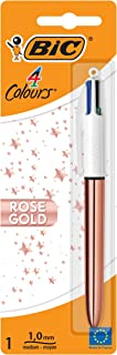 BIC 4 Colours Rose Gold Ball Pen Medium Point (1.0 mm) with Black, Blue, Red and Green Ink All-in-One - Pack of 1