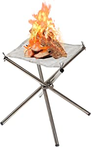 HOSKO Portable Fire Pit Outdoor, 16.5 Inch Camping Fire Pit Foldable, Collapsing Steel Mesh Fireplace - Suit for Camping, Backyard and Garden