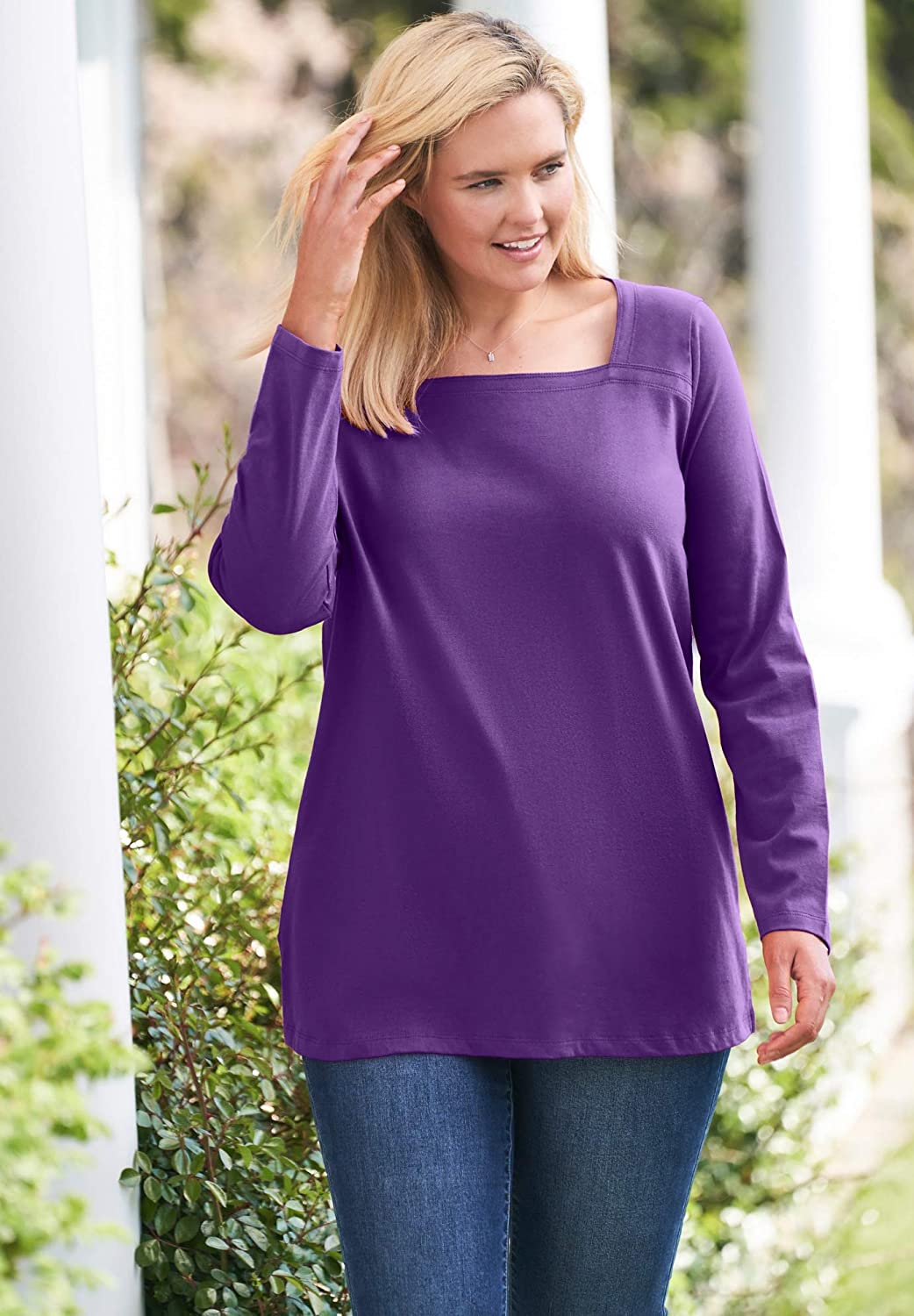 Woman Within Women's Plus Size Perfect Long-Sleeve Square-Neck Tee Shirt