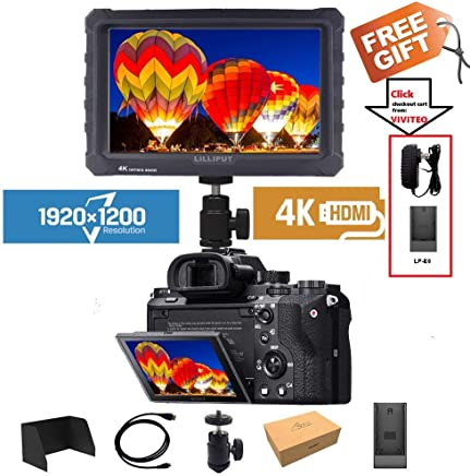 LILLIPUT A7S - Monitor de campo con pantalla IPS de 7 pulgadas, 1920 x 1200 pulgadas, 4 K, entrada HDMI, salida de vídeo para cámara réflex digital sin espejo, Sony A7S II A6500, Panasonic GH5, Canon 5D, Mark IV DJI Ronin M, color negro