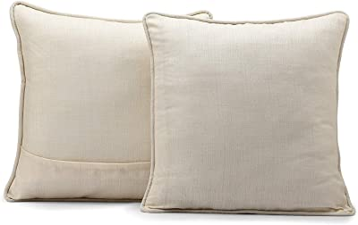 Half Price Drapes SSKR-71833-CC18PR Yarn Dyed Designer Faux Raw Textured Silk Cushion Cover - Pair, 18 X 18, French Ivory