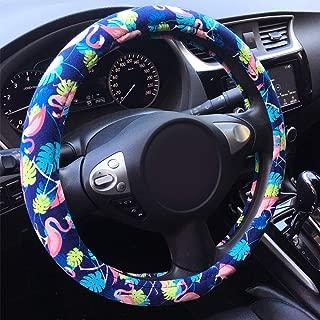 "Rayauto Automotive Ethnic Tropical Hawaiian Flamingo Style Car Steering Wheel Cover 15"" 38cm (Flamingo)"
