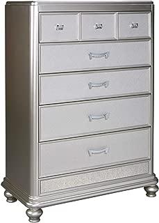 Ashley Furniture Signature Design - Coralayne Chest of Drawers - Glamorous Hollywood-Inspired Dresser - Metallic Silver Finish