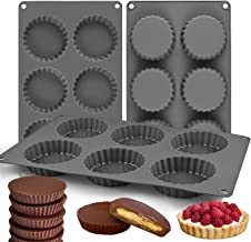 Palksky (3PCS) 6 Cup Silicone Chocolate Cookie Candy Mold/Large Fat Bombs Snack Baking Pan/Chocolate Almond Peanut Butter ...